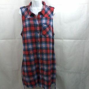 Forever 21 Sleeveless Blue/Red Plaid Dress. 2X